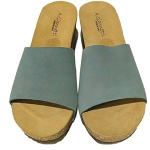 A. Giannetti Italy Suede Wedge Sandals NEW Sz 9.5…